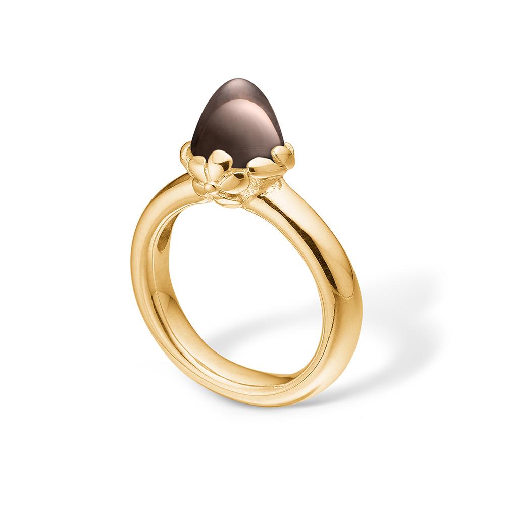 Image of   Blossom ring i 14 kt guld med en lille røgkvarts
