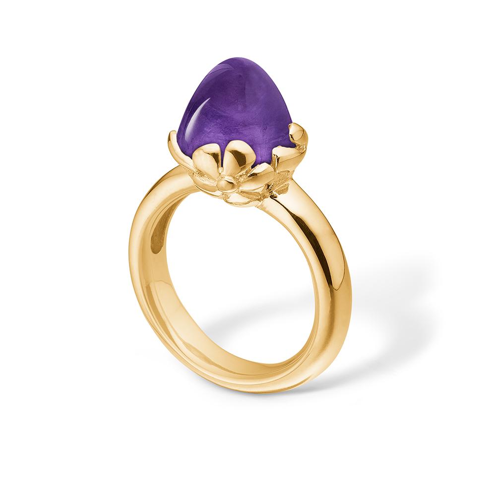 Image of   Blossom ring i 14 kt guld med stor ametyst