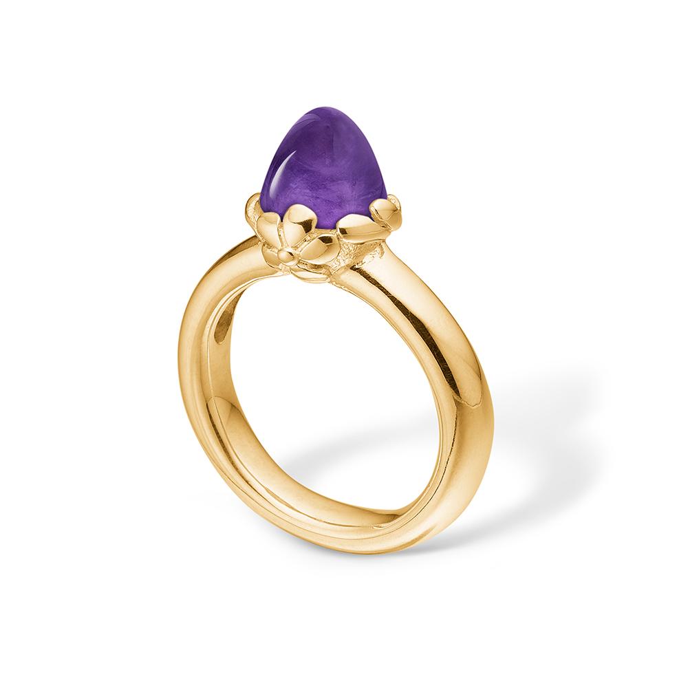 Image of   Blossom ring i 14 kt guld med en lille ametyst