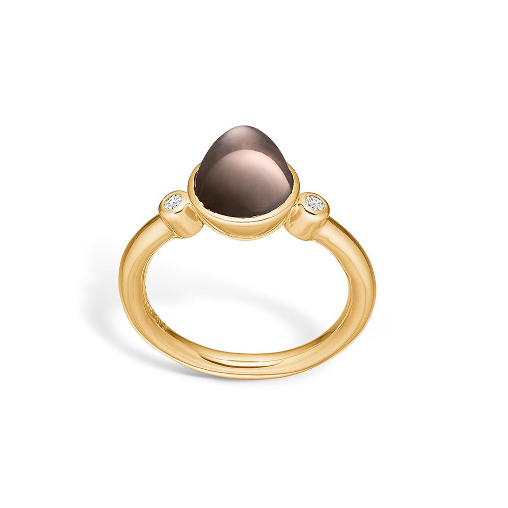 Image of   Blossom ring i 14 kt guld med to diamanter og lille røgkvarts