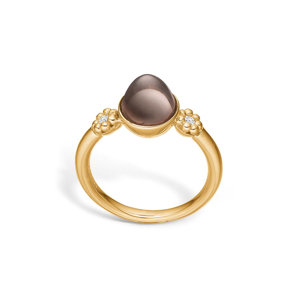 Image of   Blossom ring i 14 kt guld med to diamanter og en lille røgkvarts