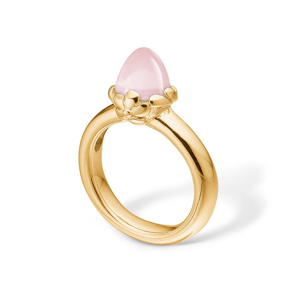 Image of   Blossom ring i 14 kt guld med en lille rosakvarts