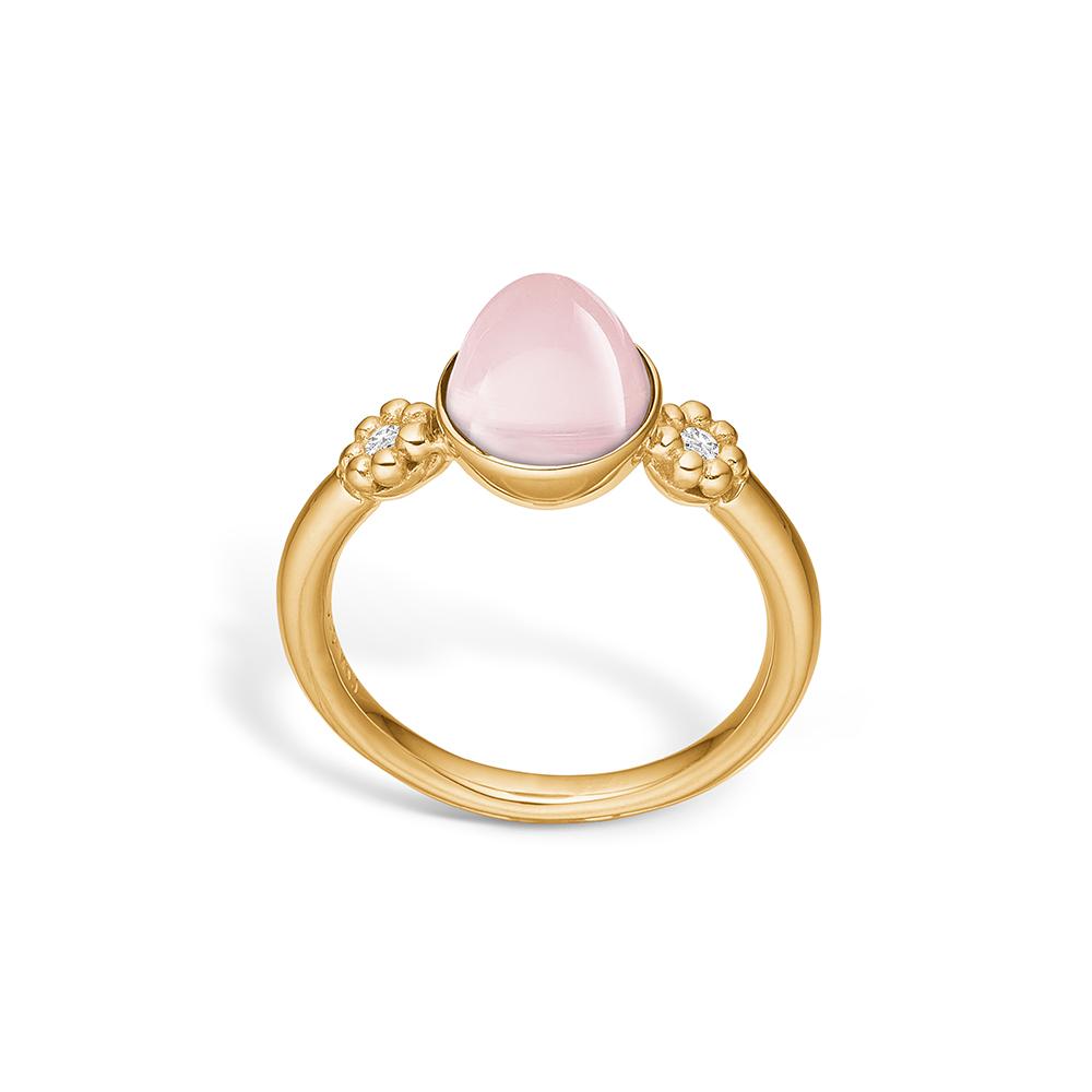 Image of   Blossom ring i 14 kt guld med lille rosakvarts og diamanter