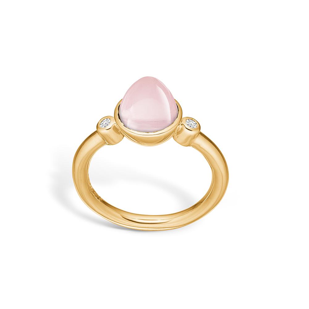 Image of   Blossom ring i 14 kt guld med to diamanter og en lille rosakvarts