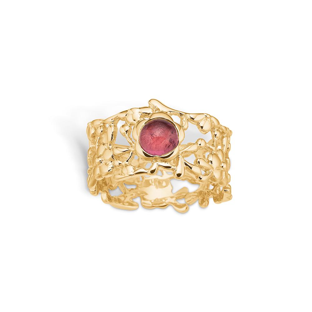 Image of   Blossom ring i 14 kt guld med pink turmalin
