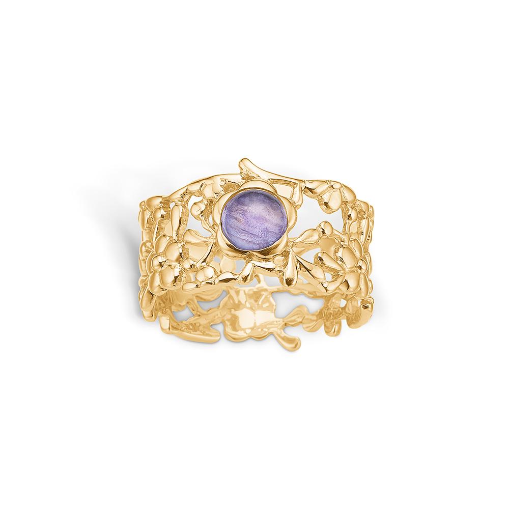 Image of   Blossom ring i 14 kt med blå-lilla turmalin