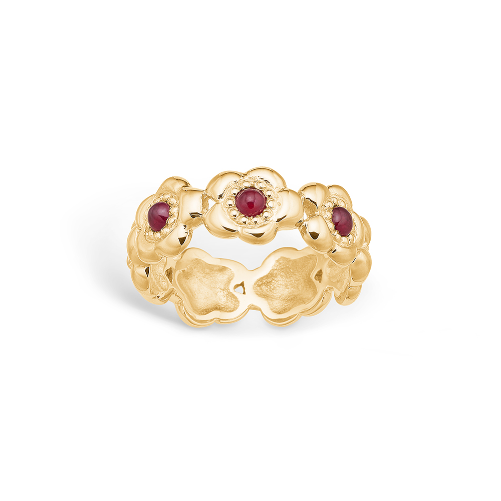 Image of   Blossom ring i 14 kt guld med 3 rubiner