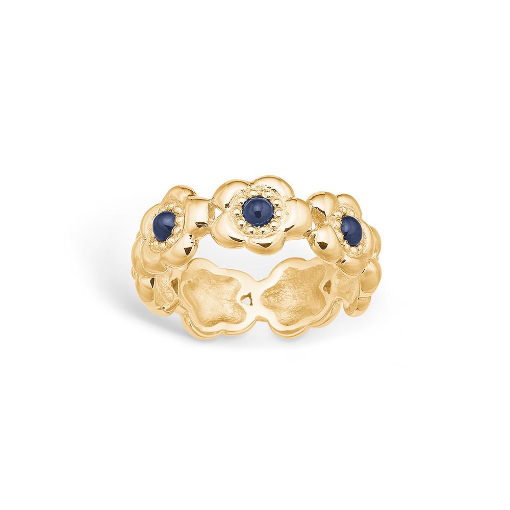 Blossom guld 14kt ring 3*Safir