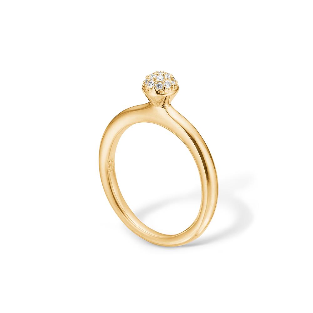 Image of   Blossom ring i 14 kt guld med 17 diamanter