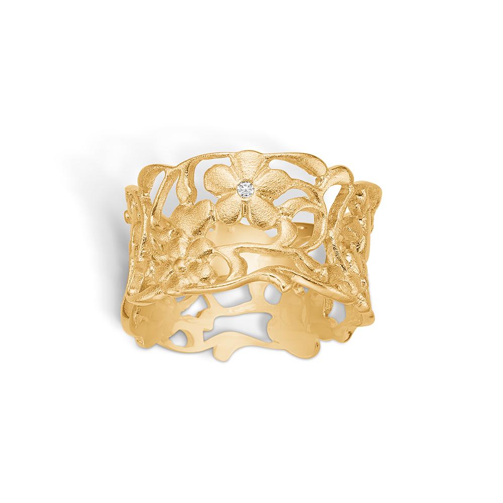 Blossom ring i 14 kt guld med en diamant -mat
