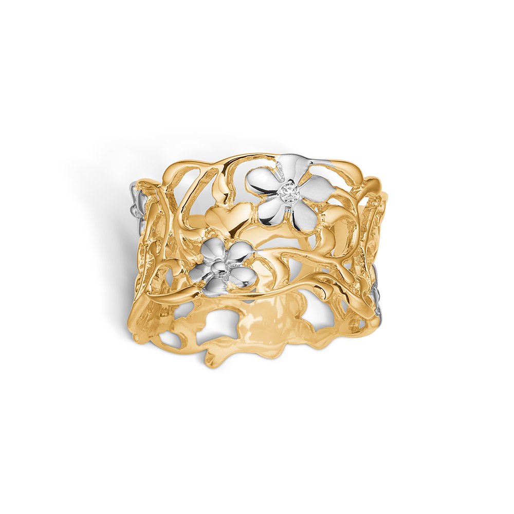Blossom ring i 14 kt guld med diamant