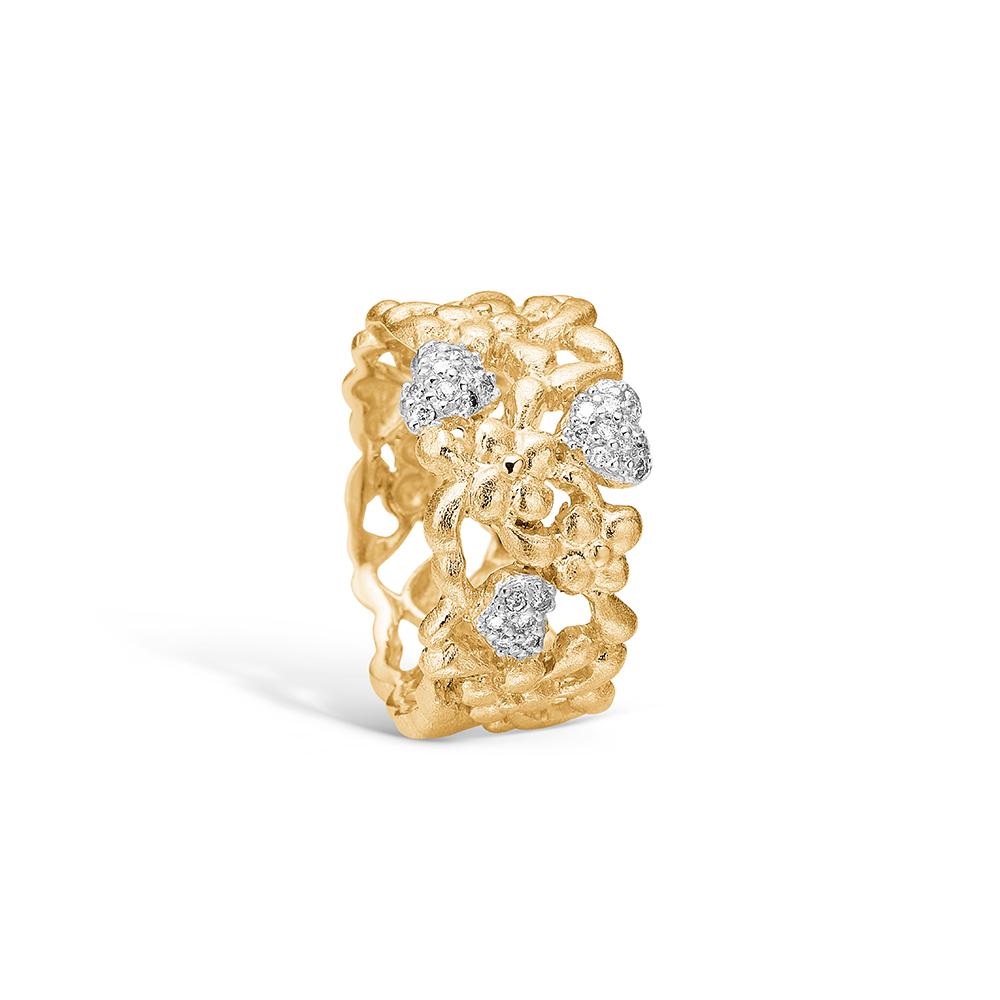 Image of   Blossom ring i 14 kt guld med 28 diamanter