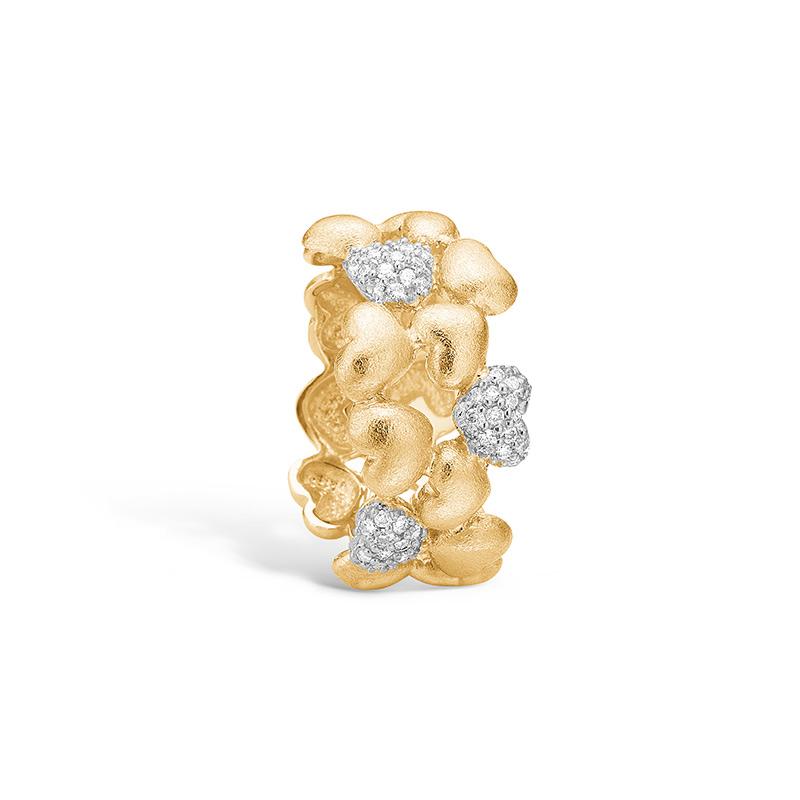 Image of   Blossom ring i 14 kt guld med hjerter og 45 diamanter