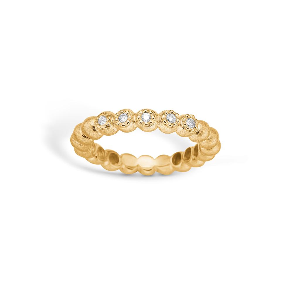 Image of   Blossom ring i 14 kt guld med 5 diamanter
