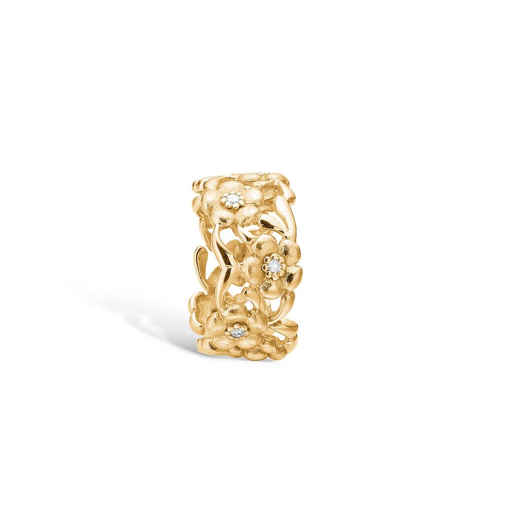 Image of   Blossom ring i 14 kt guld med 8 diamanter