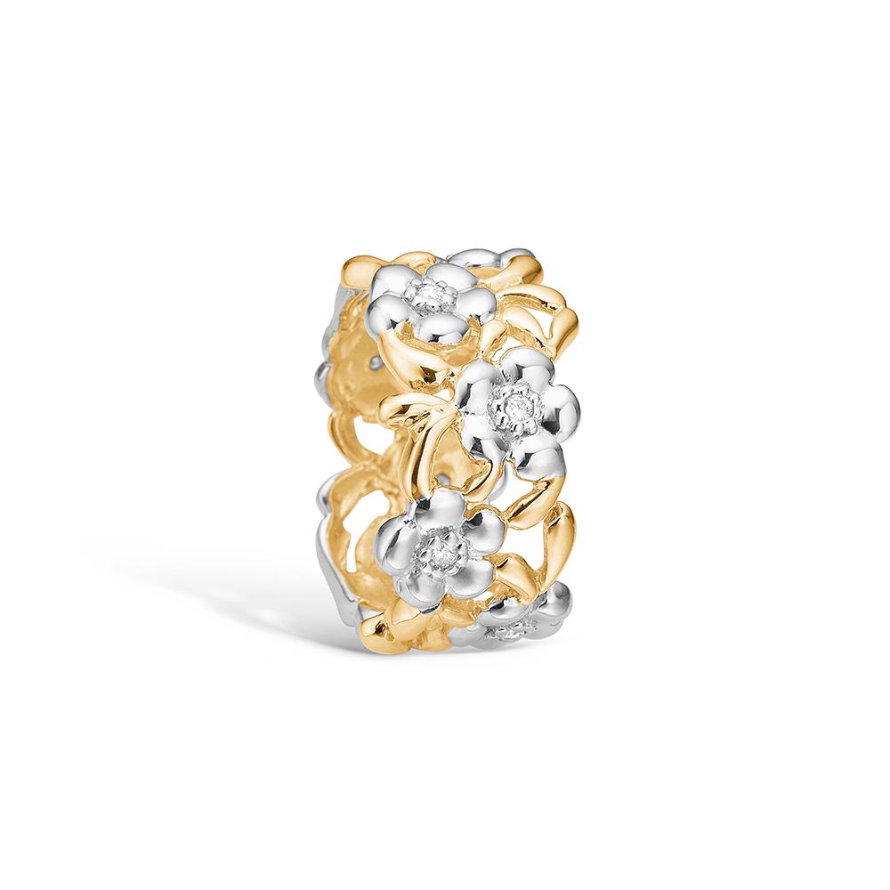 Image of   Blossom ring i 14 kt guld og hvidguld med 8 diamanter
