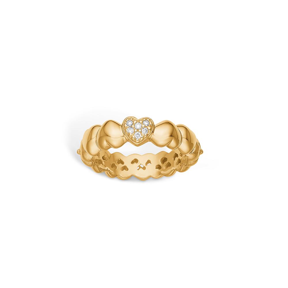 Image of   Blossom ring i 14 kt guld med 6 diamanter