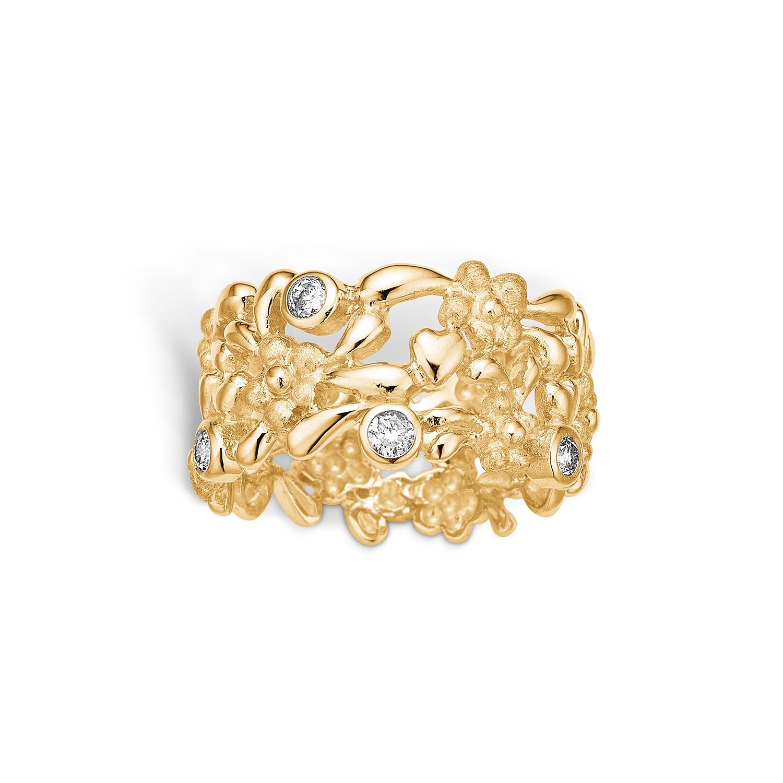 Blossom bred 14 kt. blomster ring med hjerter og 4 diamanter