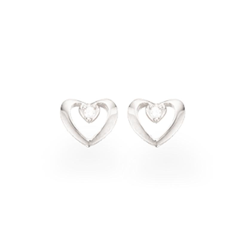 Scrouples Hjerteørestikker i sølv med cubic zirkonia