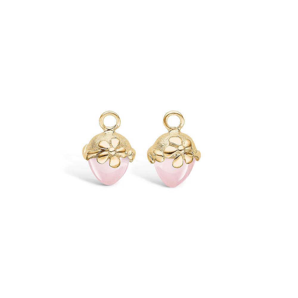 Blossom vedhæng til ørering i guld med lille rosakvarts