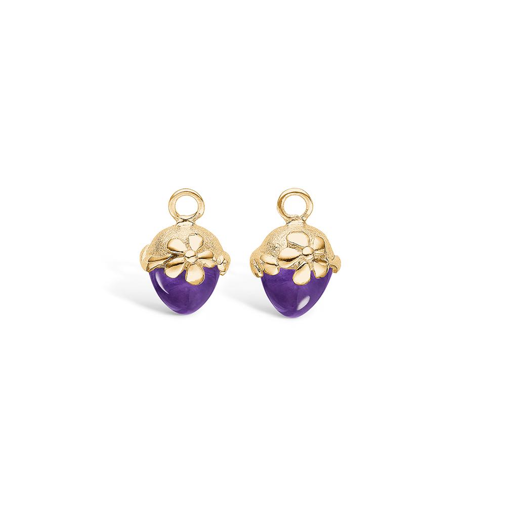 Blossom vedhæng til øreringe i guld med lille ametyst
