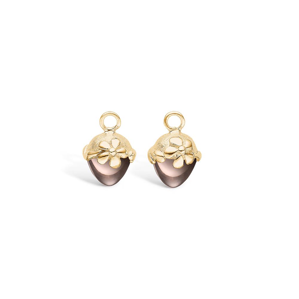 Blossom vedhæng til øreringe i guld med lille røgkvarts thumbnail