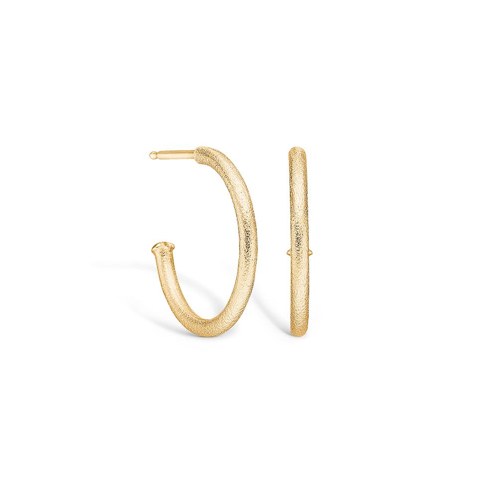 Image of   Blossom ørering i 14 kt guld, mat 20 mm