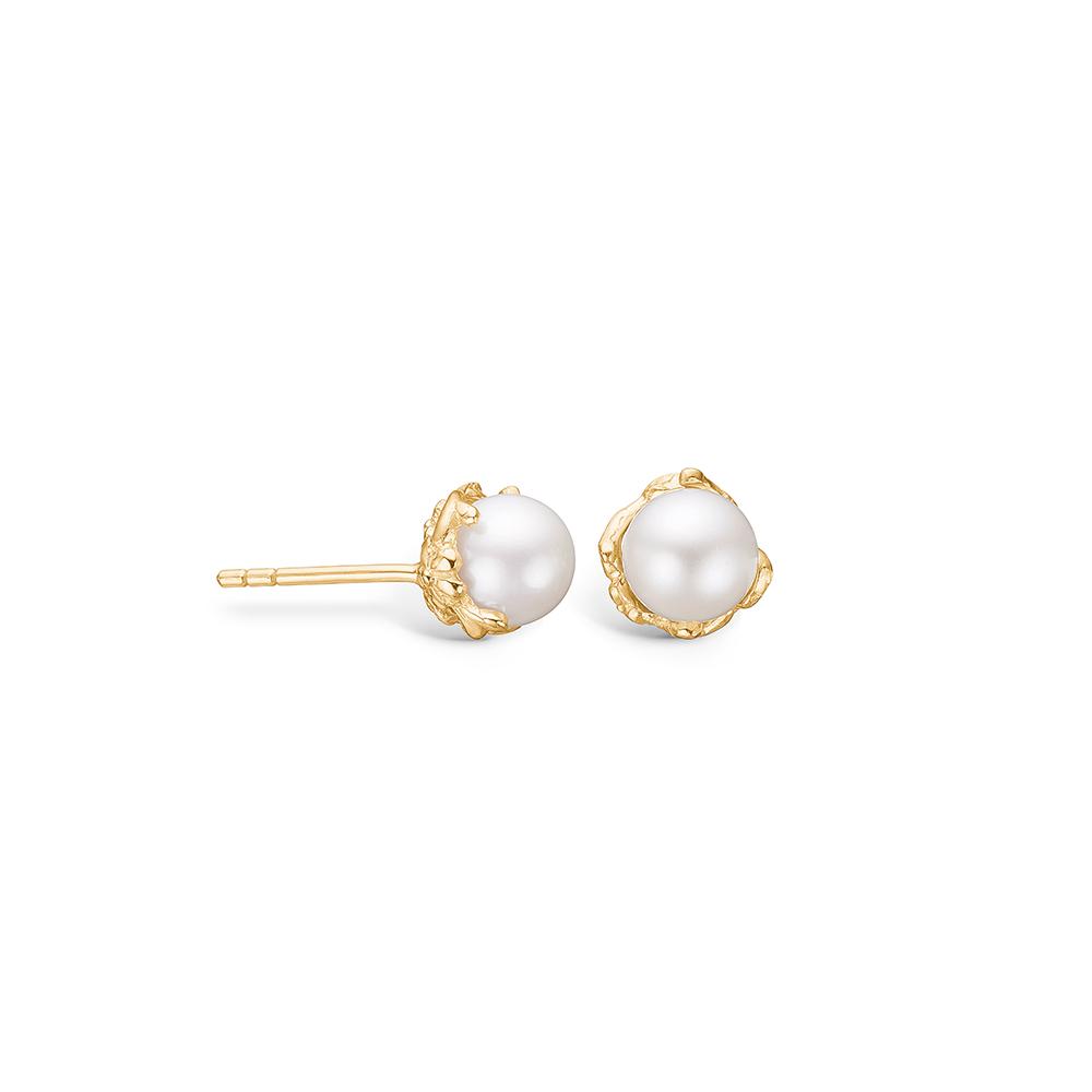 Blossom ørestikker i 14 kt guld med perler på 6 mm