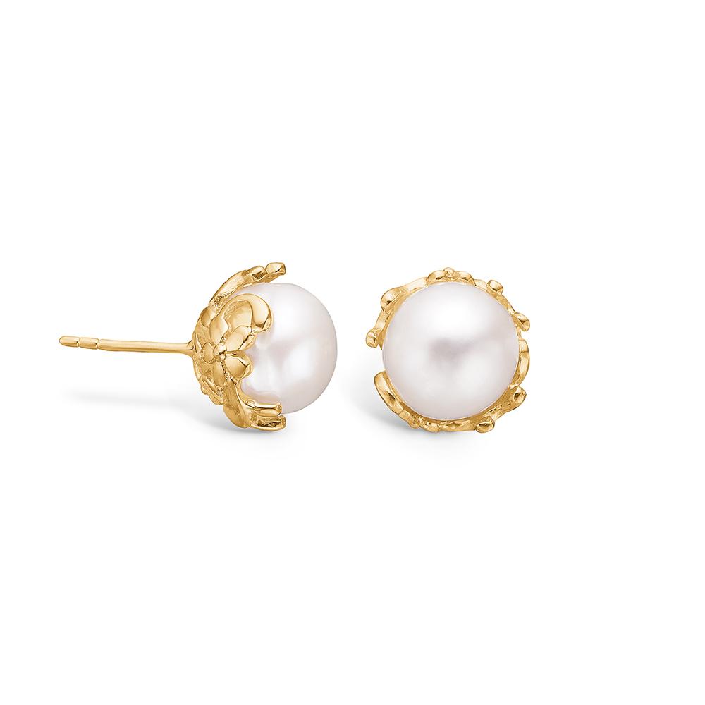 Blossom ørestikker i 14 kt guld med 10 mm perle