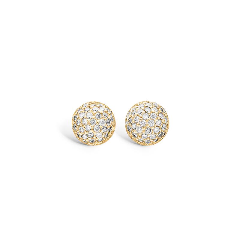 Blossom ørestikker i 14 kt guld med 66 diamanter