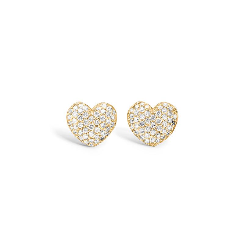 Blossom ørestikker i 14 kt guld, hjerte med 88 diamanter
