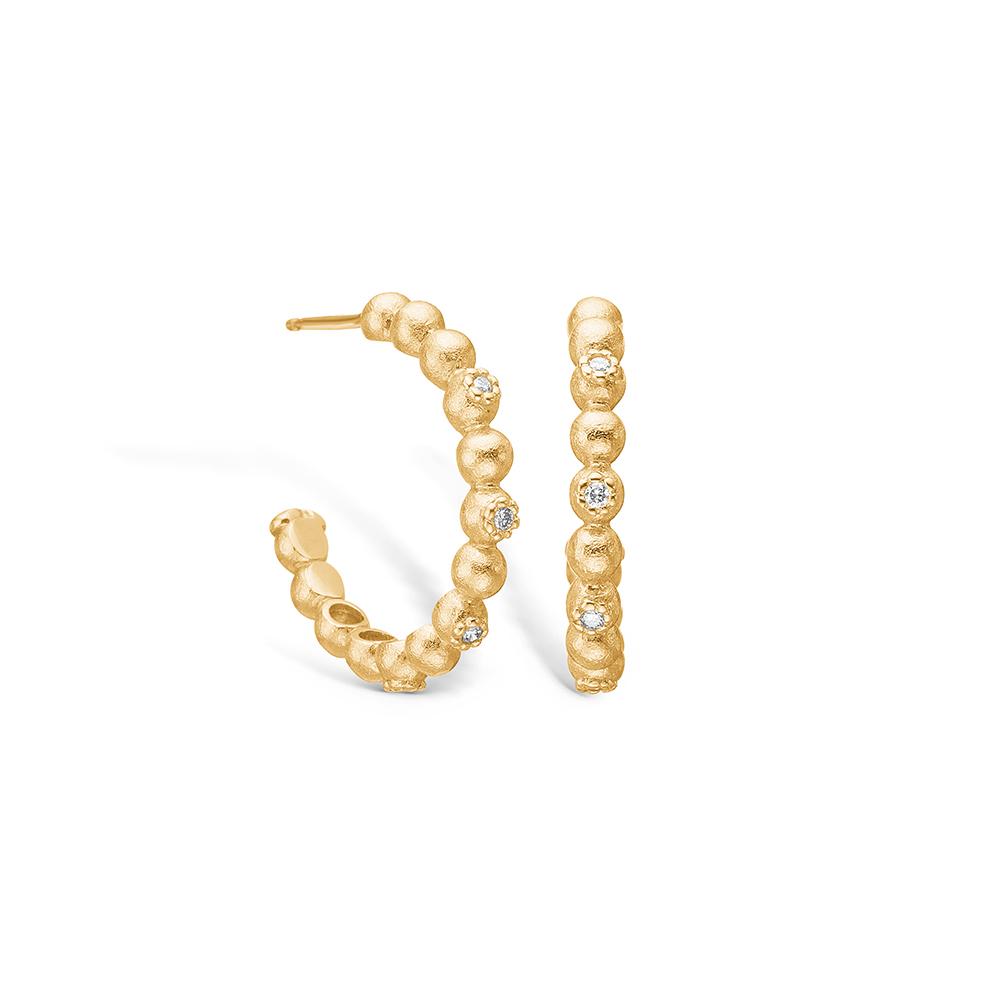 Blossom øreringe i 14 kt guld med diamanter
