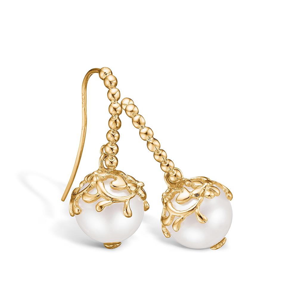 Blossom ørehængere i 14 kt guld med perle
