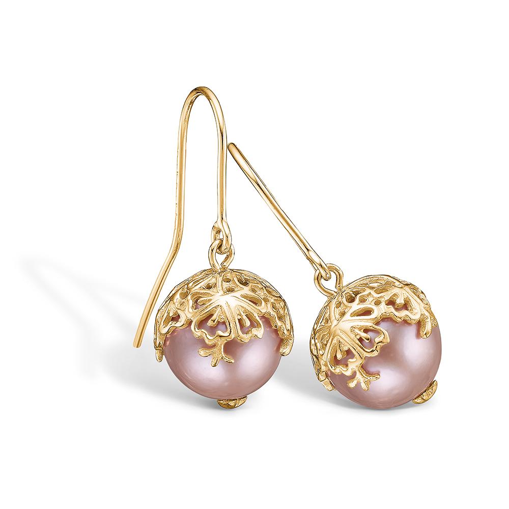 Blossom ørehængere i 14 kt guld med rosa perle