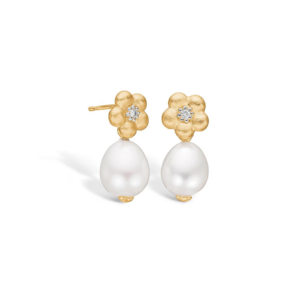 Blossom øreringe i guld med perler og diamanter