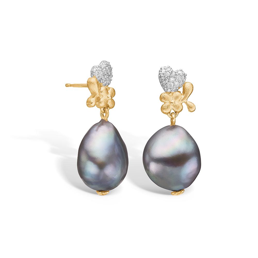 Blossom øreringe i 14 kt guld med diamanter og perler