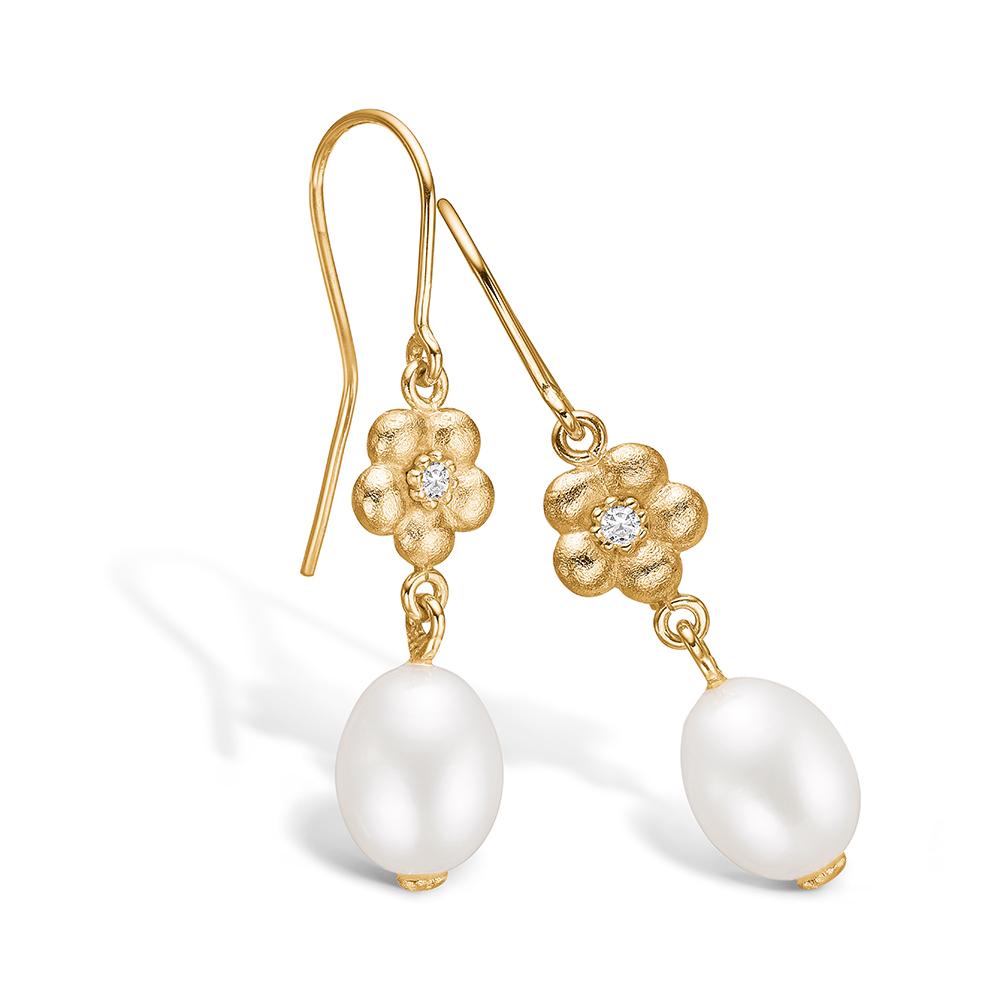 Blossom ørehængere i 14 kt guld med diamant og perle