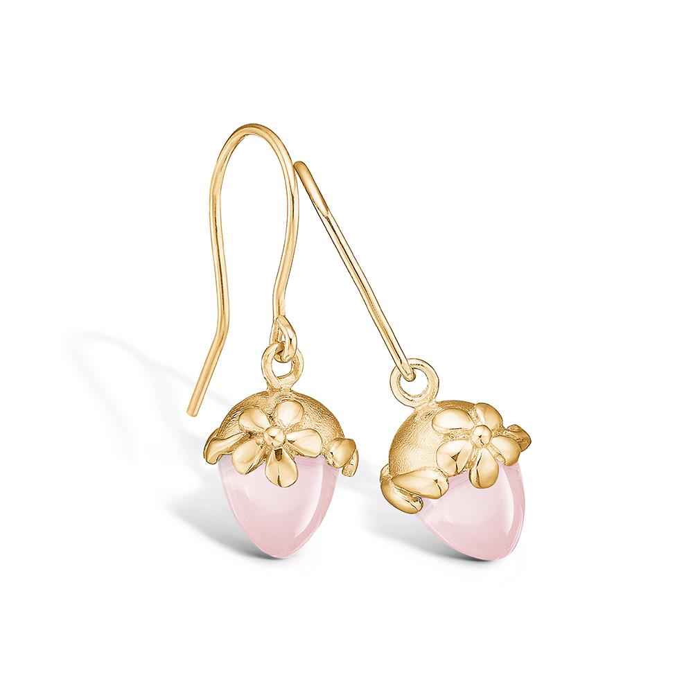 Image of   Blossom øreringe i 14 kt guld med blomster og lille rosakvarts