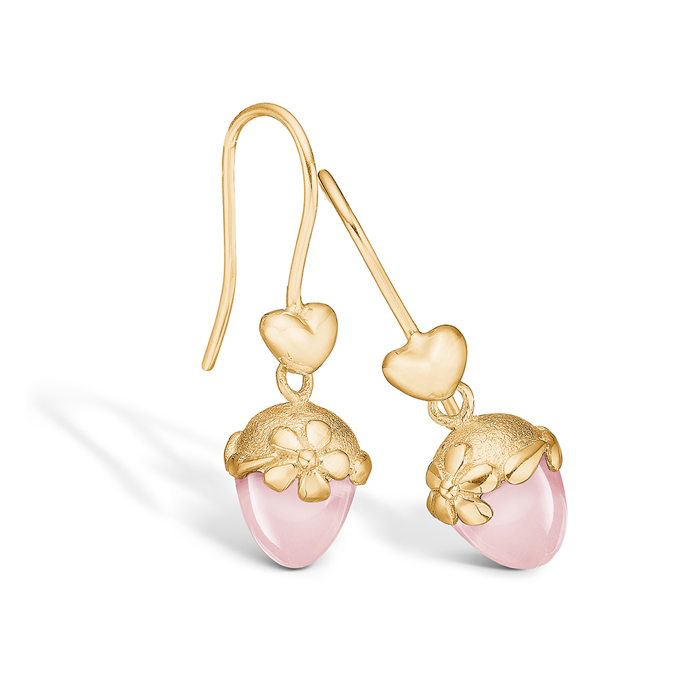 Blossom øreringe i 14 kt guld med hjerte og lille rosakvarts
