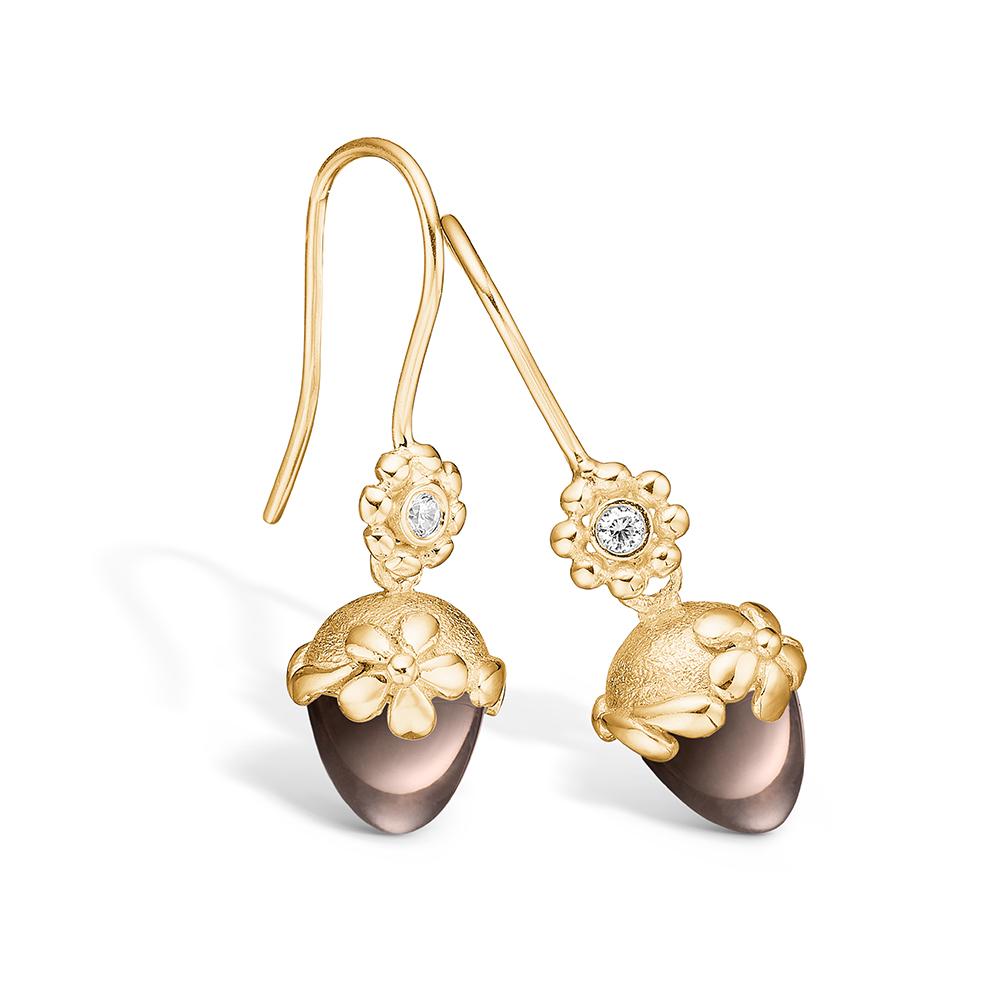 Blossom ørehængere i guld med brillanter og lille røgkvarts