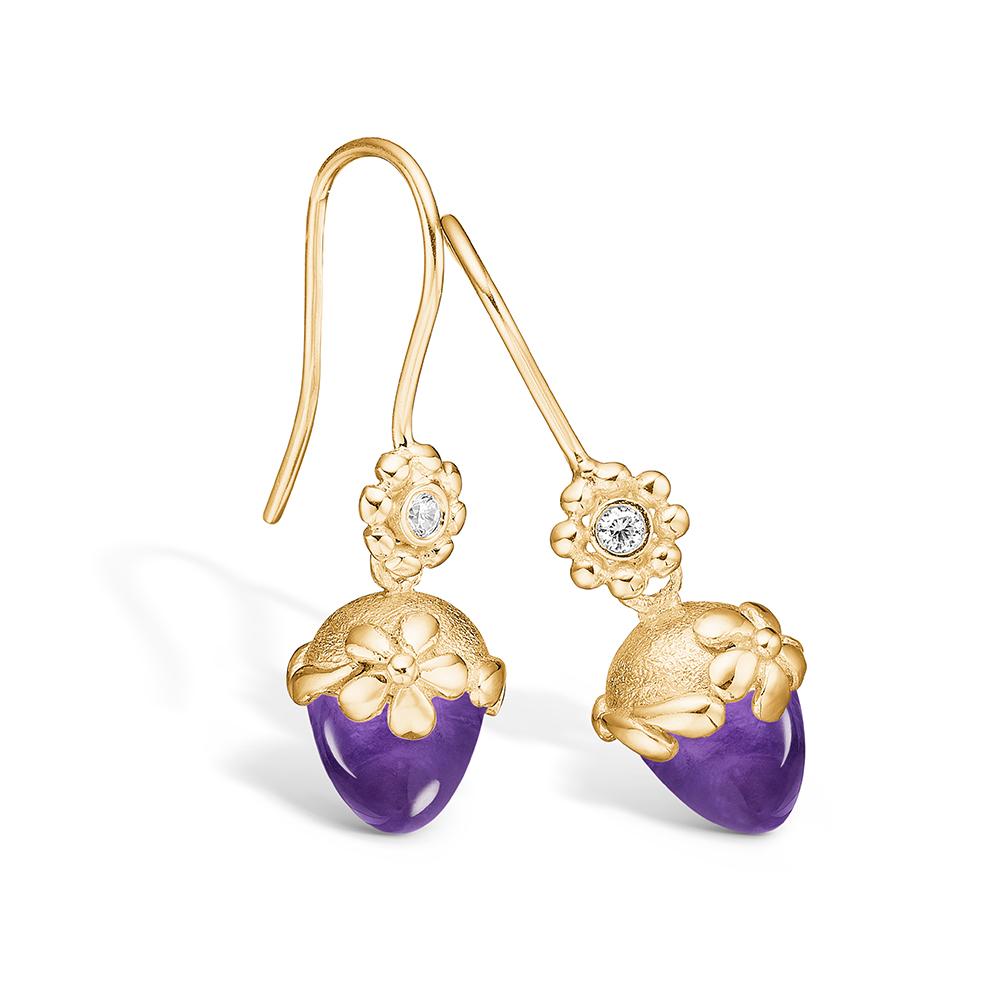 Blossom ørehængere i guld med brillanter og lille ametyst