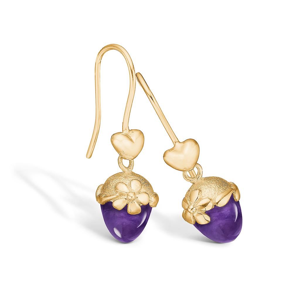 Blossom øreringe i 14 kt guld med hjerte og lille ametyst