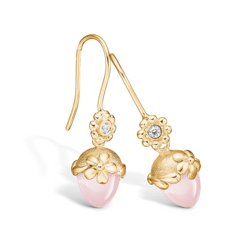 Blossom ørehængere i guld med brillanter og lille rosakvarts