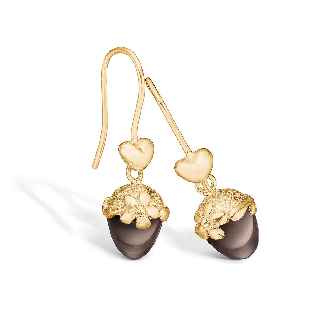 Blossom guld 14kt ørering hjerte lille Røgkvarts