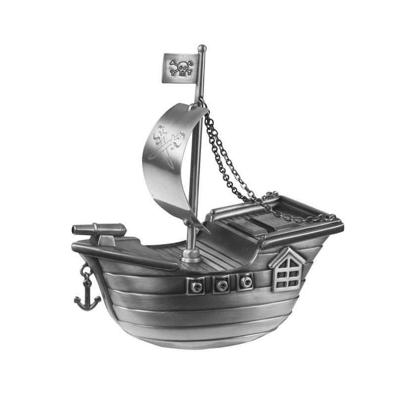 Image of   Sparebøsse Sørøverskib, fortinnet