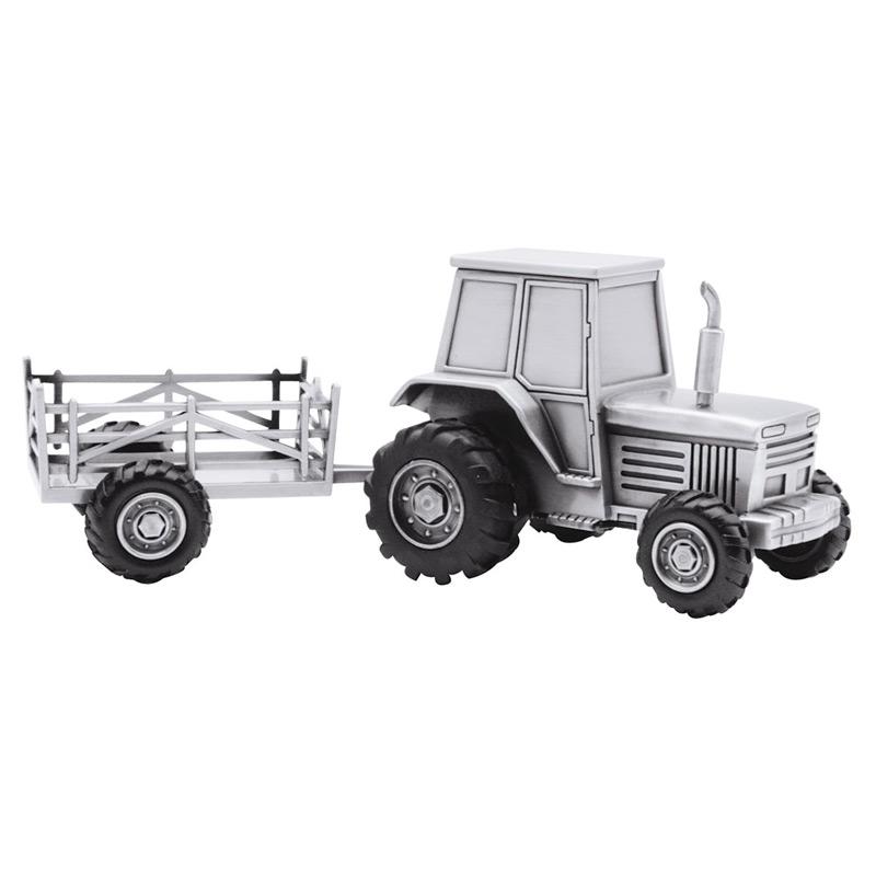 Image of   Sparebøsse Traktor med vogn, fortinnet