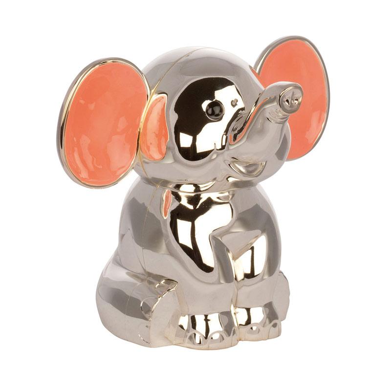 Image of   Sparebøsse Elefant pink ører, sølvplet