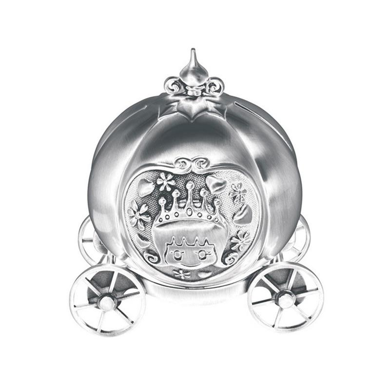 Image of   Sparebøsse Græskar karet, sølvplet