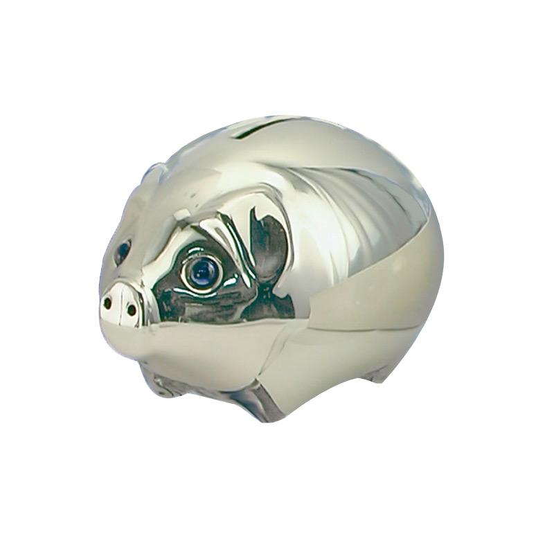 Image of   Sparebøsse Gris, sølvplet