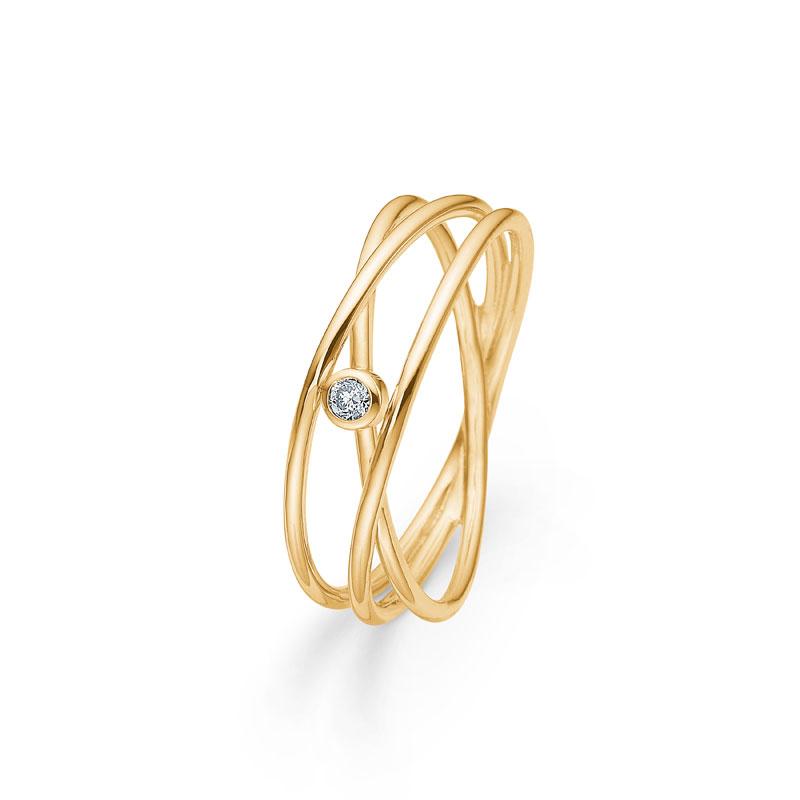 Mads Z Nest Ring i 14 kt. rødguld med 0,03 ct diamant